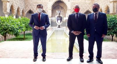 Juanma Moreno Poses With The Eurocup In Sevilla